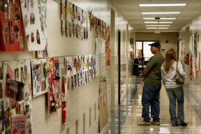 Artwork and crafts decorated the walls last night at Lower Pottsgrove Elementary School. Proud parents looked for their kids' works.
