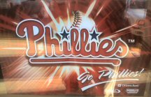 Phillies poster in a retailer's window.