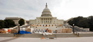 The platform for the 2009 presidential inauguration is under construction in Washington DC. Photo supplied by the Joint Congressional Committee on Inuguration Ceremonies.