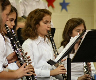 Clarinets, flutes, percussion and voices combined to observe Veterans Day during a performance Tuesday night at Ringing Rocks Elementary School.