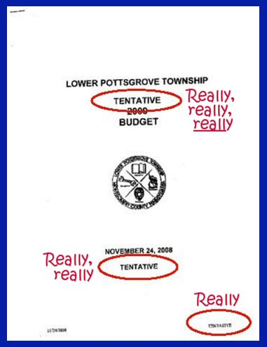 Cover of the township's tentative 2009 budget.