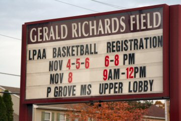 A reminder Sunday outside Gerald Richards Field on Buchert Road.