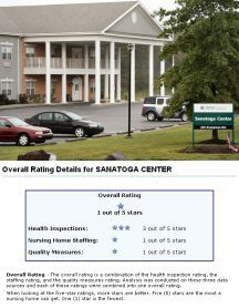 Sanatoga Center as it appeared in October 2008, and the federal government's website rankings for the facility.
