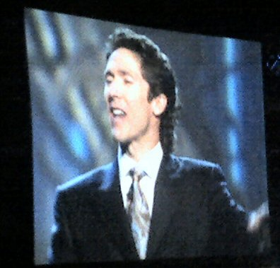 Texas pastor and televangelist Joel Osteen and his wife Victoria appeared Friday night (Dec. 5, 2008) at Wachovia enter in Philadelphia.
