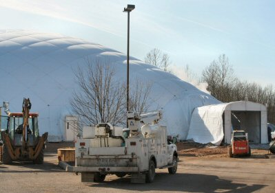 A new dome rises next to the 422 Sportsplex on Industrial Highway.