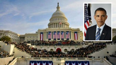 The inauguration scene Tuesday on the steps of The Capitol, and a portrait of the nation's newest, and 44th, president.