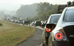 A scene that's all too familiar: traffic on Route 422 East snakes its way toward the Trooper PA exit.