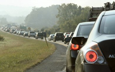 traffic on Route 422 East snakes its way toward the Trooper PA exit.