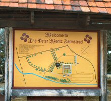 Park map at the entrance to the Wentz Farmstead.