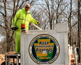 More than 3,000 trout arrived from a Central Pennsylvania fish hatchery via tank truck.