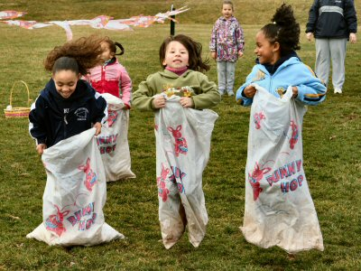 You can almost hear the squals, as three girls compete Saturday in Lower Pottsgrove's bunny hop sack races at Gerald Richards Park.