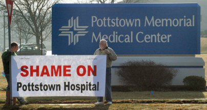 Union representatives object to the use of a subcontractor in the hospital's renovations.