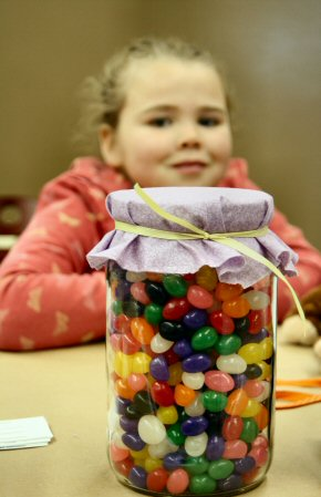 Emma Johnson, 8, the daughter of Jared and Denise Johnson of Queen Street, Pottstown, and her jellybeans.