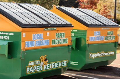 Paper Retriever recycling bins outside Lower Pottsgrove Elementary School last October.