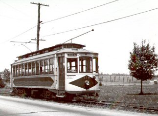 Schuylkill Valley Transit trolley No. 119, on Ridge Pike in Trooper PA during May 1932.
