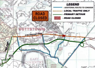 Primary and alternate detours around the coming bridge work on East High Street.
