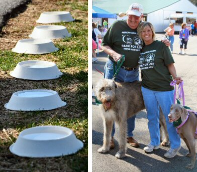 Water-filled dog bowls lined the path around Sunnybrook to ensure pets were well-hydrated. Pausing for a photo before the walk were father and daughter, Bill Brown of Boyertown and Michelle Skitko of Oley, and their four-legged friends.