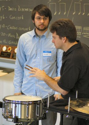Among those conducting clinics were Chris Deviney, right, principal percussionist of the Philadelphia Orchestra.
