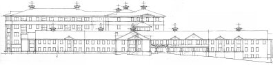 Southwest elevation drawing of the proposed facility.