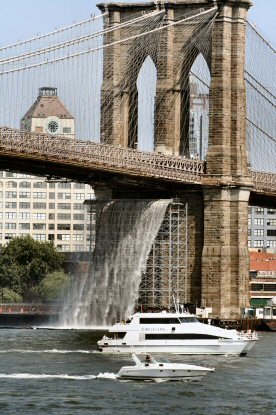 One of New York City's man-made wonders, its four temporary waterfalls, photographed July 19, 2008, from South Street Seaport.
