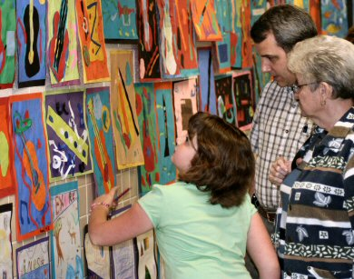 """That one's mine!,"" was a sentenced often heard during the art show, as proud students showed their talents to loved ones."