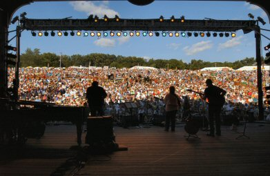 Playing to the crowd at last year's Folk Festival.
