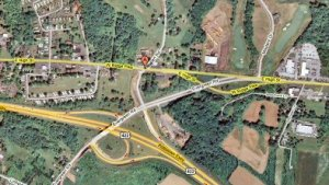 The Sanatoga interchange at U.S. Route 422, as seen from overhead in a Google Maps satellite image.