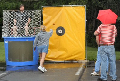 At the festival's dunk tank; think her aim was pretty good?