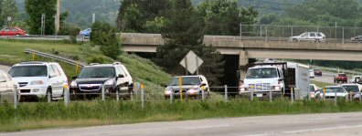 Eastbound U.S. Route 422 traffic backs up early Monday evening (June 15, 2009) at the Royersford-Trappe interchange ...