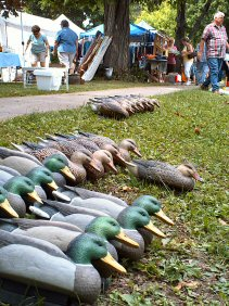 An array of duck decoys available fr purchase in Aurora NY.