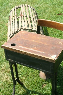 The old school desk sold for $25; the lobster trap, for $40.