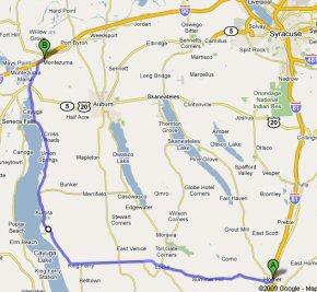 The garage sale route, in purple.