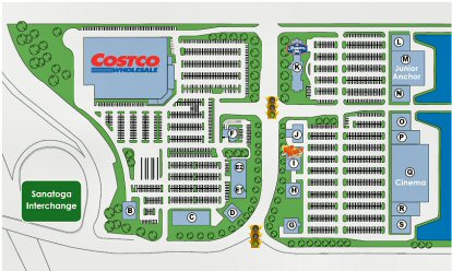 The most recent layout available for The Gateway At Sanatoga proposed by O'Neill Properties. In addition to Costco as a tenant at top left, the drawing specifies a Hampton Inn and Red Robin Retaurant as having committed to the project.